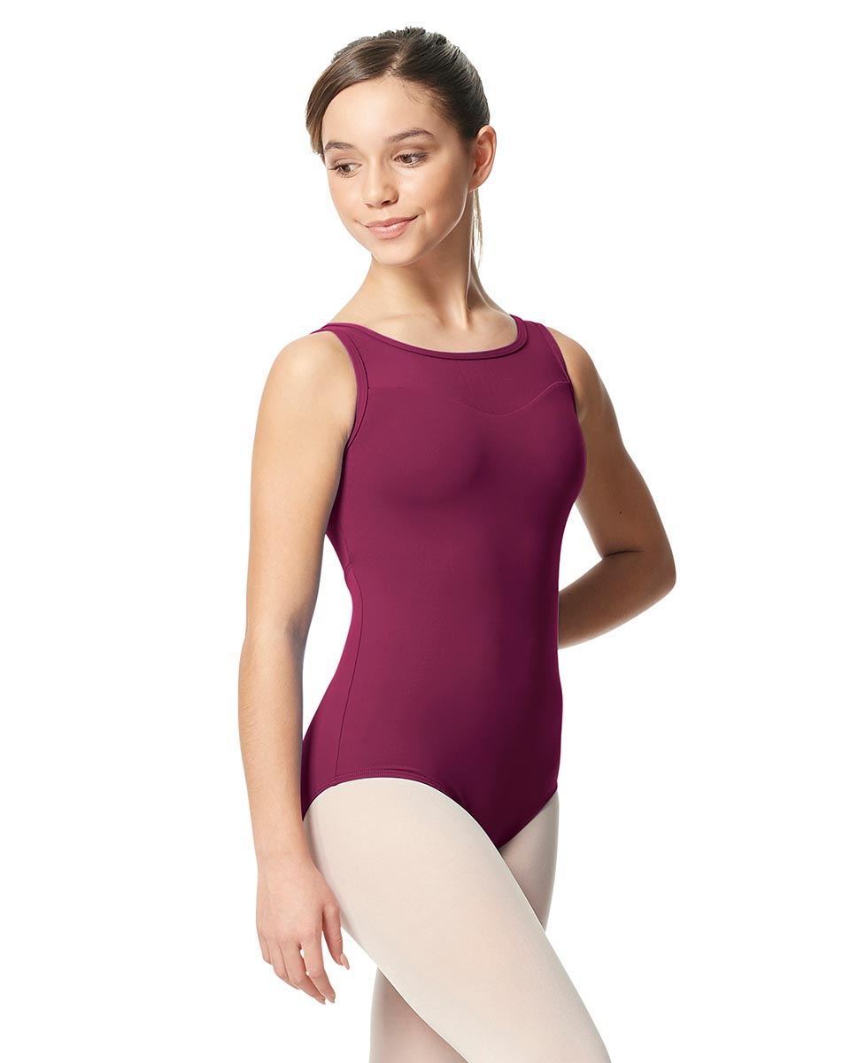 Girls Mesh Yoke Tank Dance Leotard Toma WINE