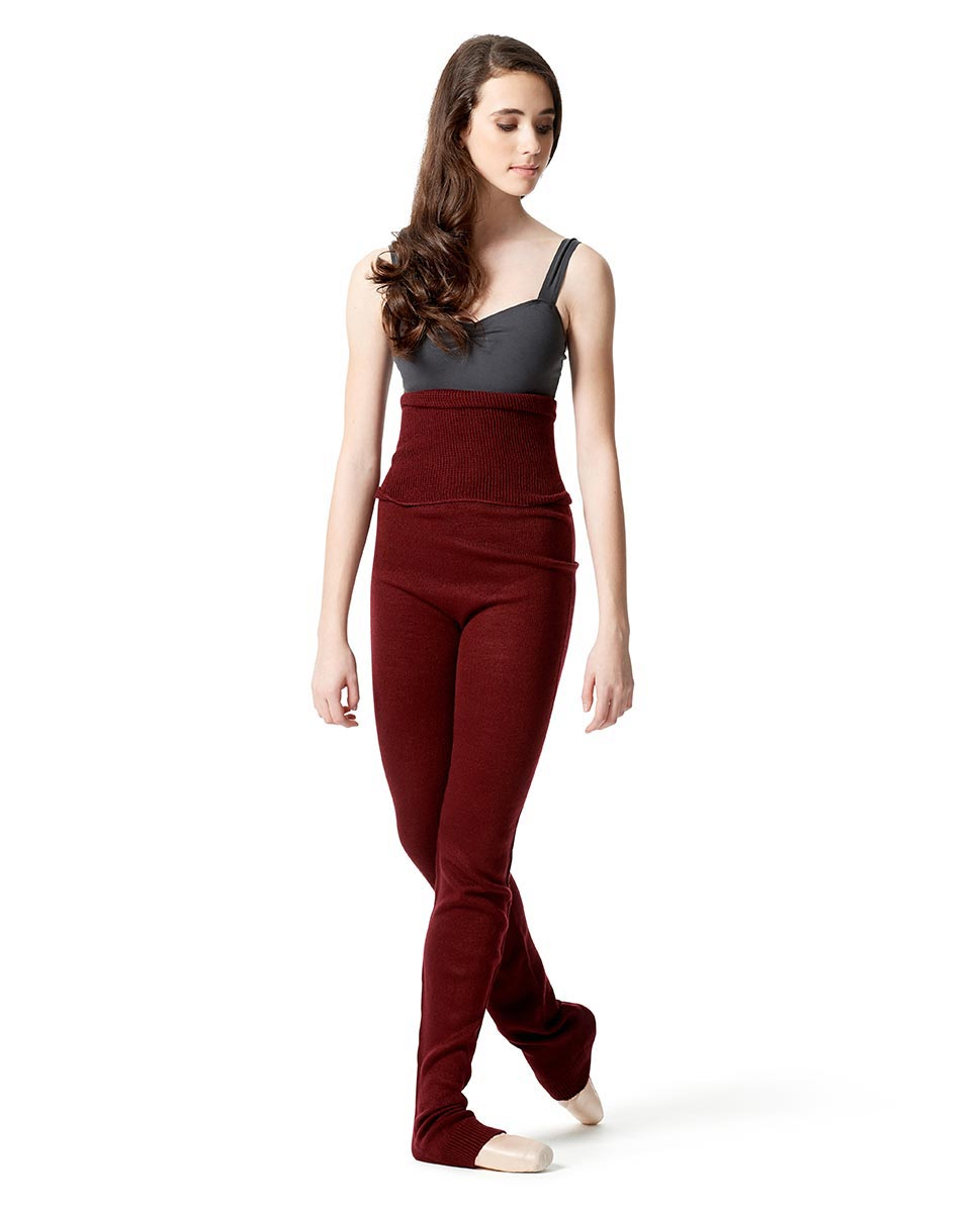 Knit warm-up pants with ankle cuffs and foldable waist BUR