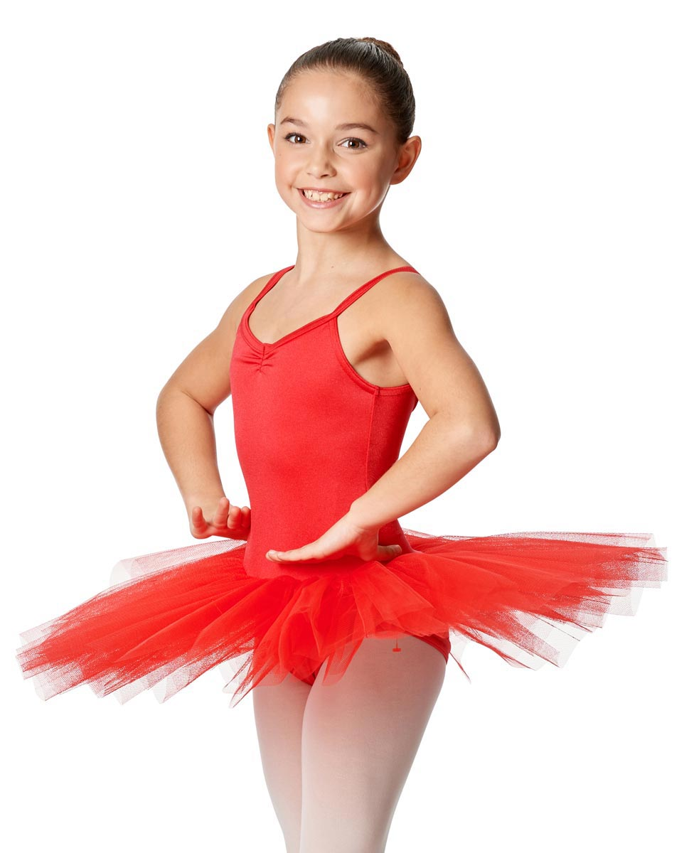 Girls Camisole Tutu 4-layered tulle Dress Everly RED