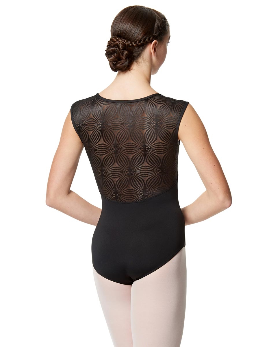 Women Flower Mesh Cap Sleeve Leotard Genesis