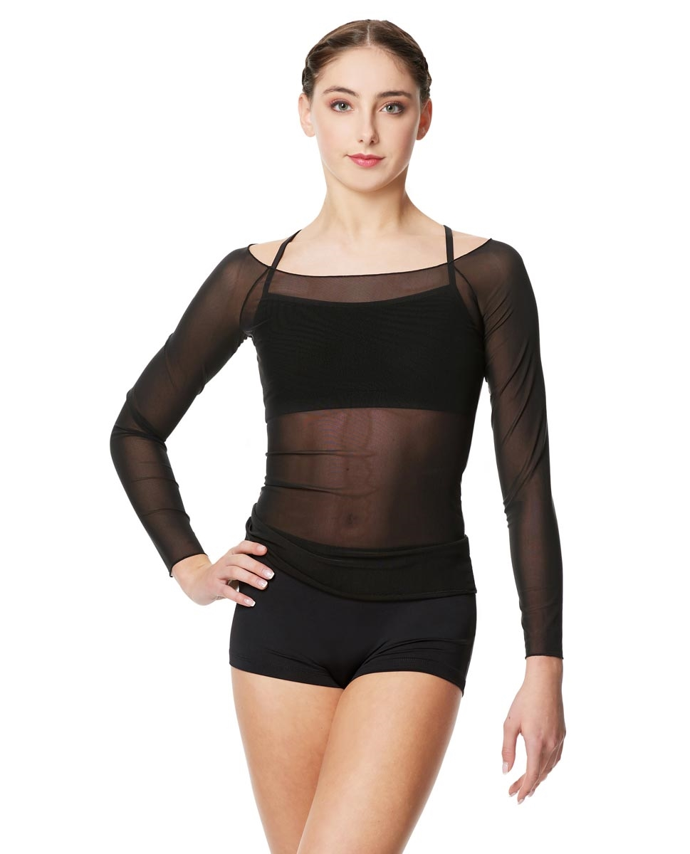 Women Mesh Long Sleeve Dance Top Faith