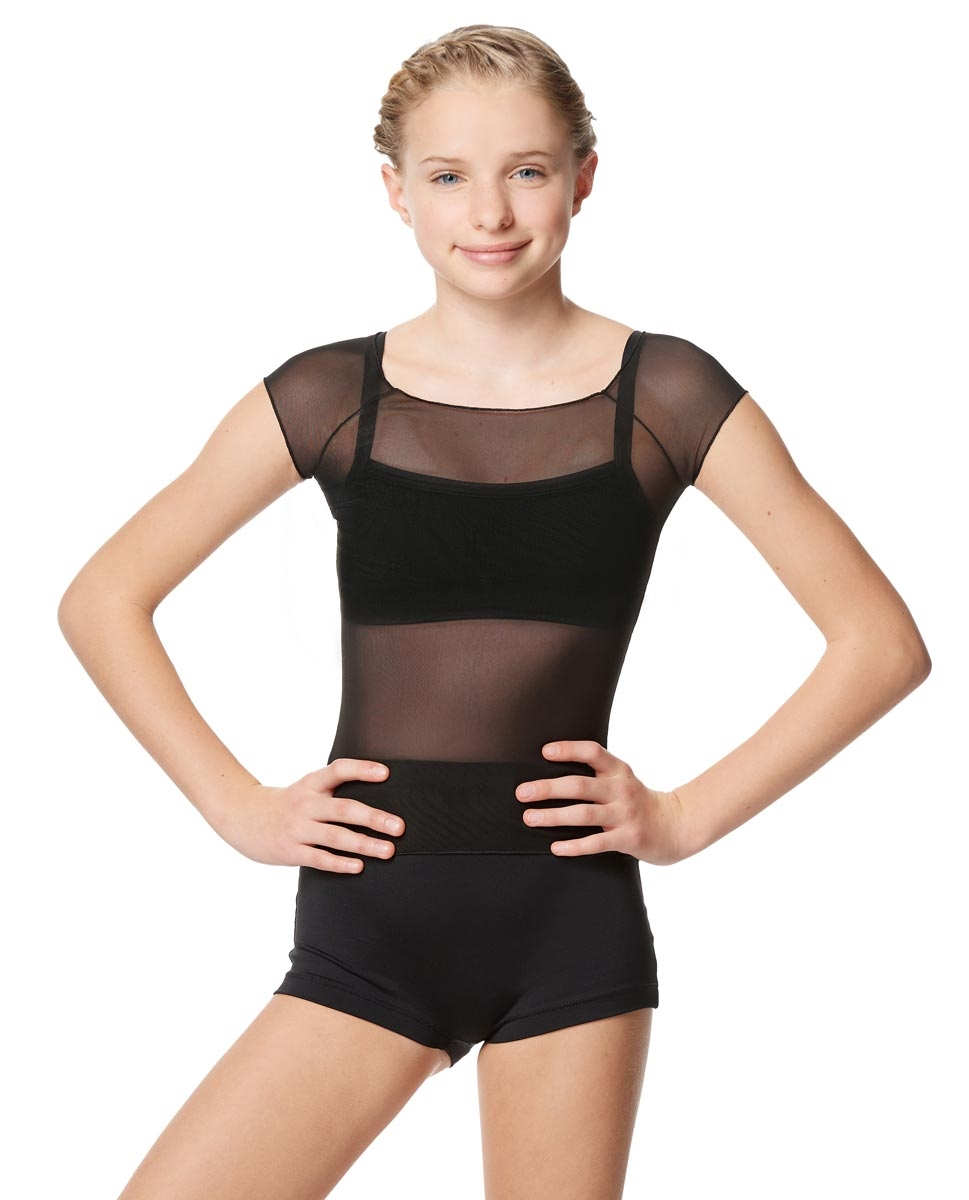 Girls Mesh Cup Sleeve Dance Top Brianna
