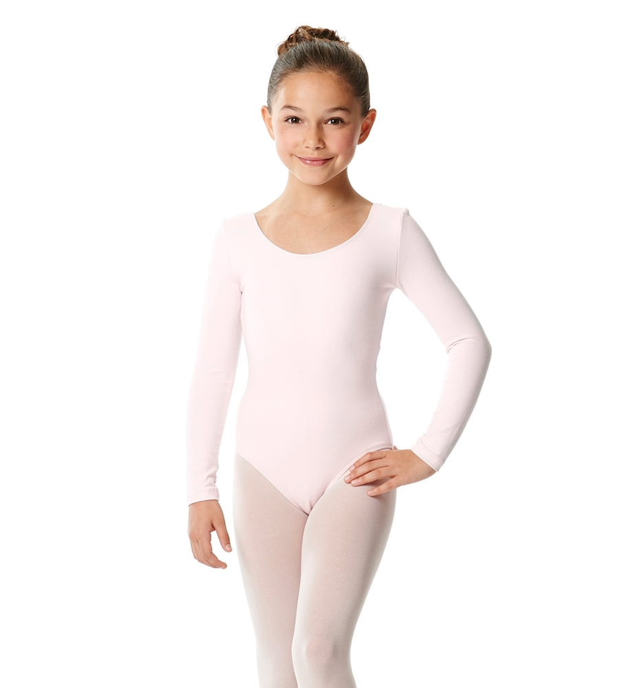 Girls Long Sleeve Cotton Ballet Leotard Liv
