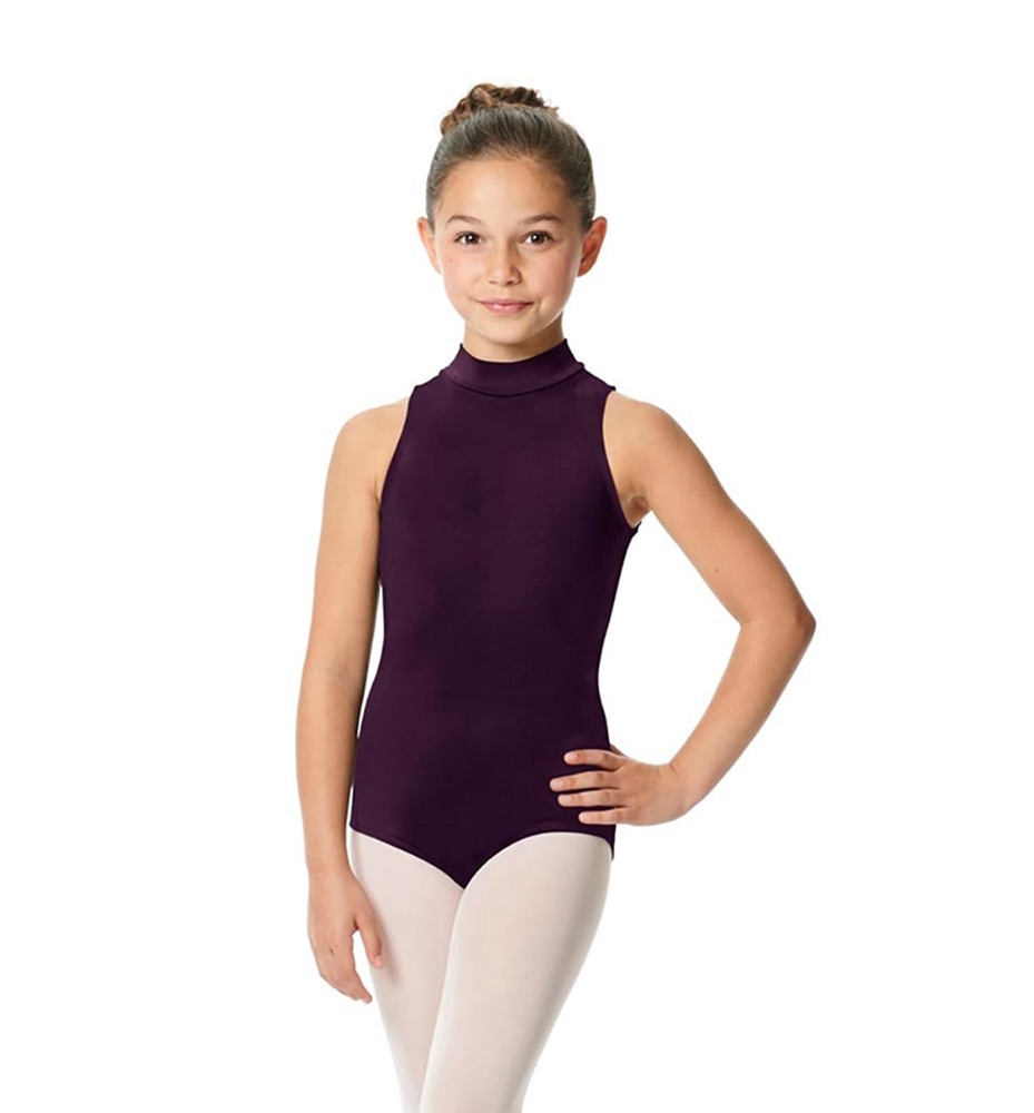 Girls Mock Neck Microfiber Leotard Penelope