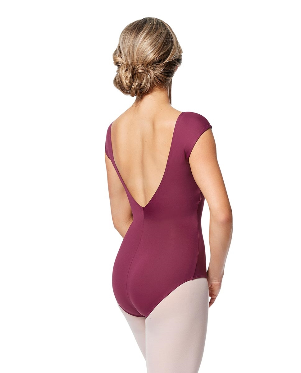 Women cap Sleeve V Back Dance Leotard Indigo