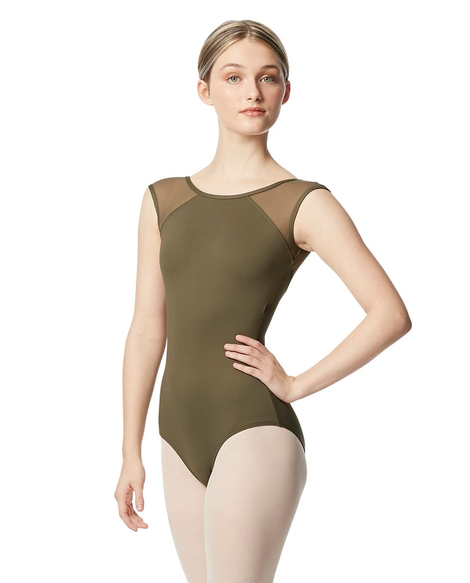 Yoke Mesh Cap Sleeve Leotard Nikita