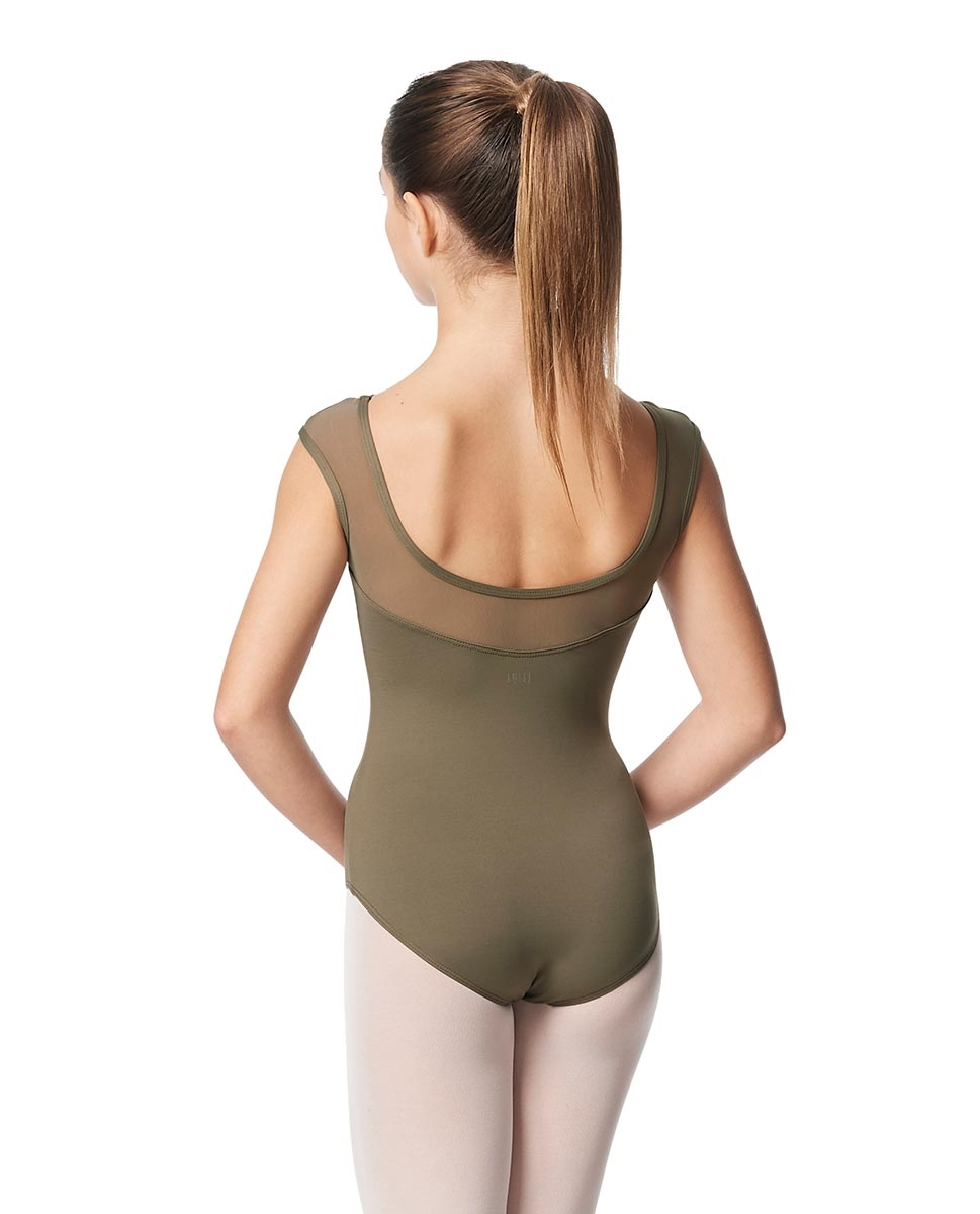 Girls Yoke Mesh Cap Sleeve Dance Leotard Nikita