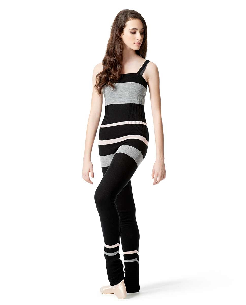 Striped Knitted Warm Up Camisole Unitard