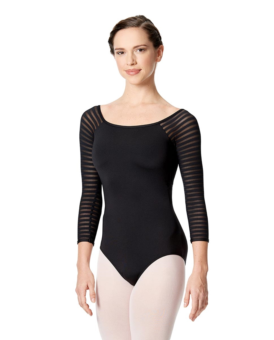 3 4 Striped Mesh Sleeve Leotard Milena