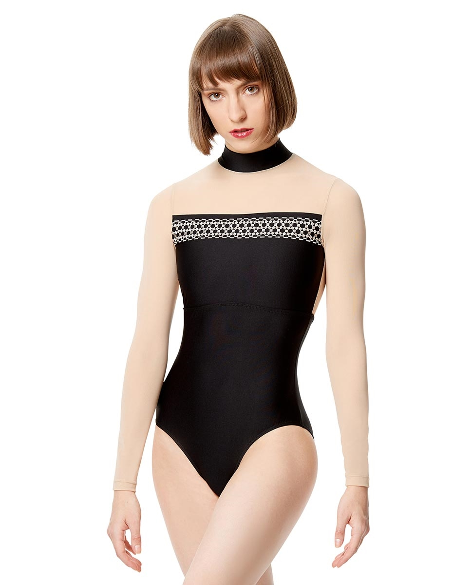 Women Embroidered Mesh Long Sleeve Leotard Rio