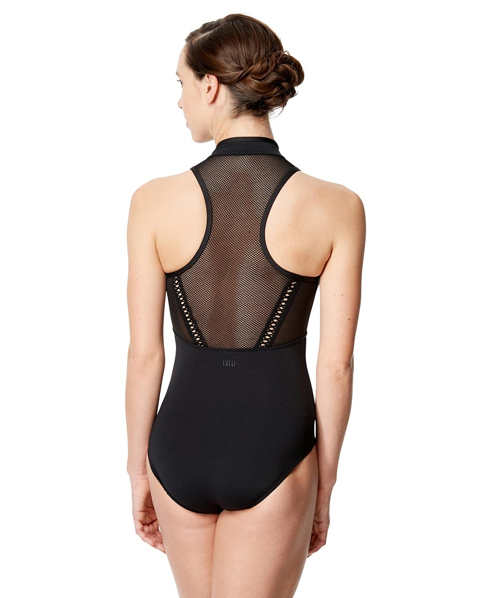 Black Leotard Mesh Mock Neck Rufina