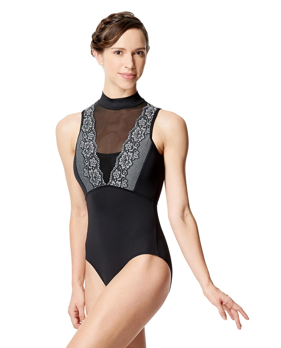 Women Lace Mock Neck Dance Leotard Eloa