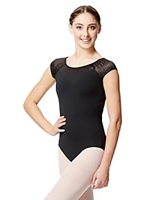 Women Geo Mesh Cap Sleeve Leotard Ariana