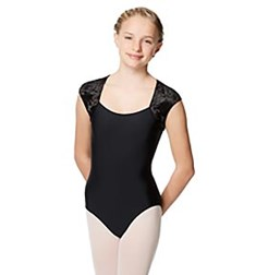 Girls Velvet Cup Sleeve Dance Leotard Arya