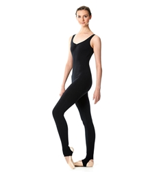 Brushed Cotton Pinched V-Neck Long Dance Unitard Zoe