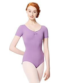 Microfiber Gathered Front and Back Short Sleeve Leotard Sofia