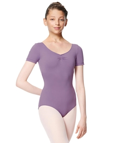Girls Gathered Short Sleeve Dance Leotard Sofia