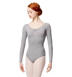 Microfiber Gathered Front and Back Long Sleeve Leotard Samantha