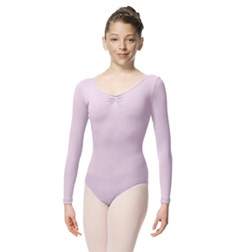 Girls Gathered Long Sleeve Dance Leotard Samantha