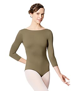 Women Microfiber Full Lining Three Quarter  Sleeve Leotard Nanette