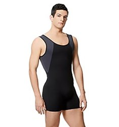 Mens Microfiber Tank Two Tone Shorty Unitard Mason