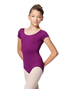 Girls Short Sleeve V Back Dance Leotard Alyona