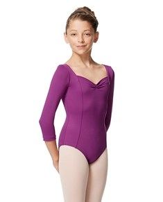 Girls Pinch Front Tactel Long Sleeve Leotard Alla