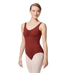 Pinch Front Tank Leotard Flora With Bra Pockets
