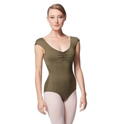 Princess Seam Cap Sleeve Leotard Cinnamon With Bra Pockets