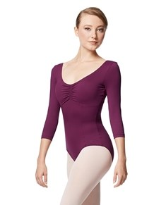 Pinch Front Long Sleeve with Bra Pockets Dance Leotard Camellia