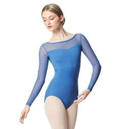 Women Yoke Mesh Long Sleeve Dance Leotard Lada