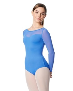Girls Yoke Mesh Long Sleeve Dance Leotard Lada