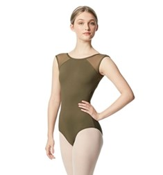 Women Yoke Mesh Cap Sleeve Dance Leotard Nikita