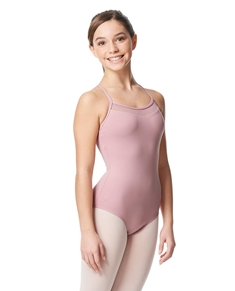 Girls Mesh Yoke Camisole Dance Leotard Zinauda