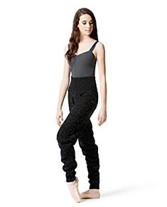 Knitted High Waist Raw Melange Warm Up Pants