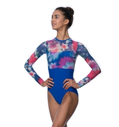Melanie Long Sleeve Floral Mesh Leotard