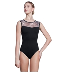 Hope High Neck Printed Mesh Leotard