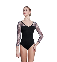 Tylor Long Sleeve Print Mesh Leotard