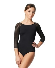 Tween 3 4 Striped Mesh Sleeve Leotard Milena