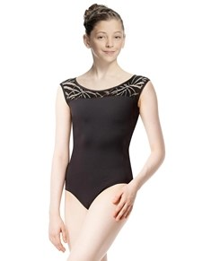 Girls Cap Sleeve Geo Mesh Dance Leotard Aitana
