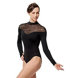 Women Flocked Mesh Mock Neck Leotard Carol