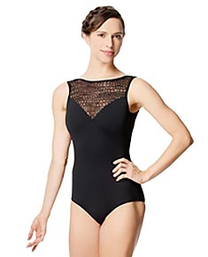 Women Flocked Mesh Tank Leotard Paola