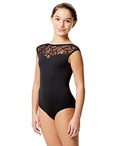 Girls Flocked Mesh Cap Sleeve Leotard Marcia