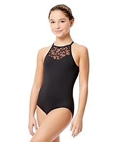 Girls Flocked Mesh Halter Neck Leotard Agnese