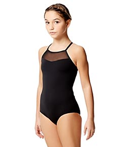 Girls Black Dance Leotard Mesh Camisole Senna