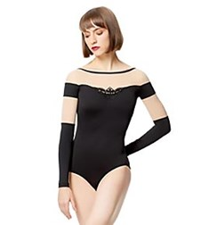 Women Mesh With Applique Long Sleeve Leotard Carmen